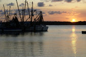 Shrimp Boats at Sunset — Stock Photo