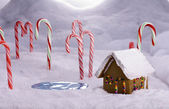 Christmas Candy Cane Forest Cottage Pond — 图库照片