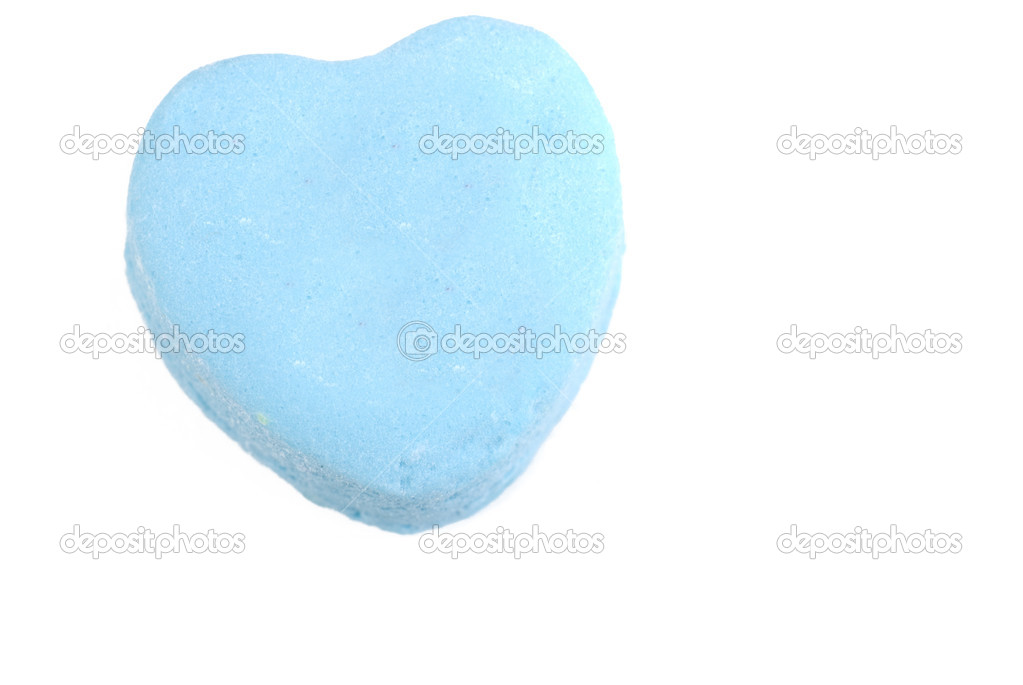 Blue Valentine candy heart isolated on white — Stock Photo #6901323