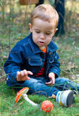 Cute boy and mushrooms — Stock Photo