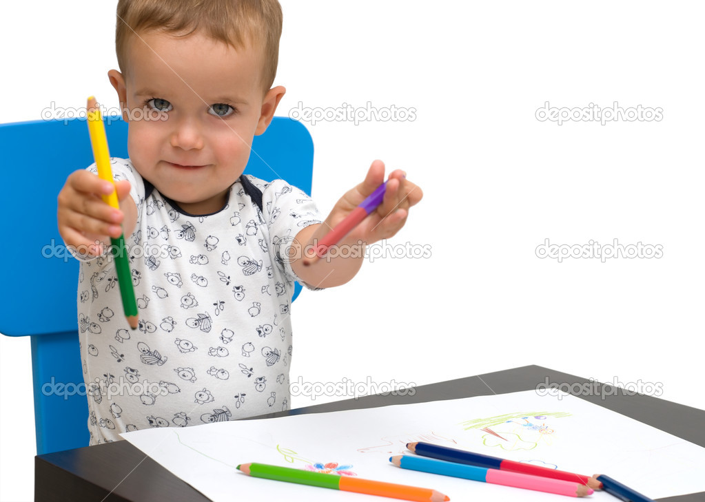 Little boy and color pencils, isolated — Stock Photo #6845735
