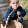 Stock Photo: Cute boy and basket