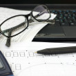 Drawings, pen and glasses — Stock Photo
