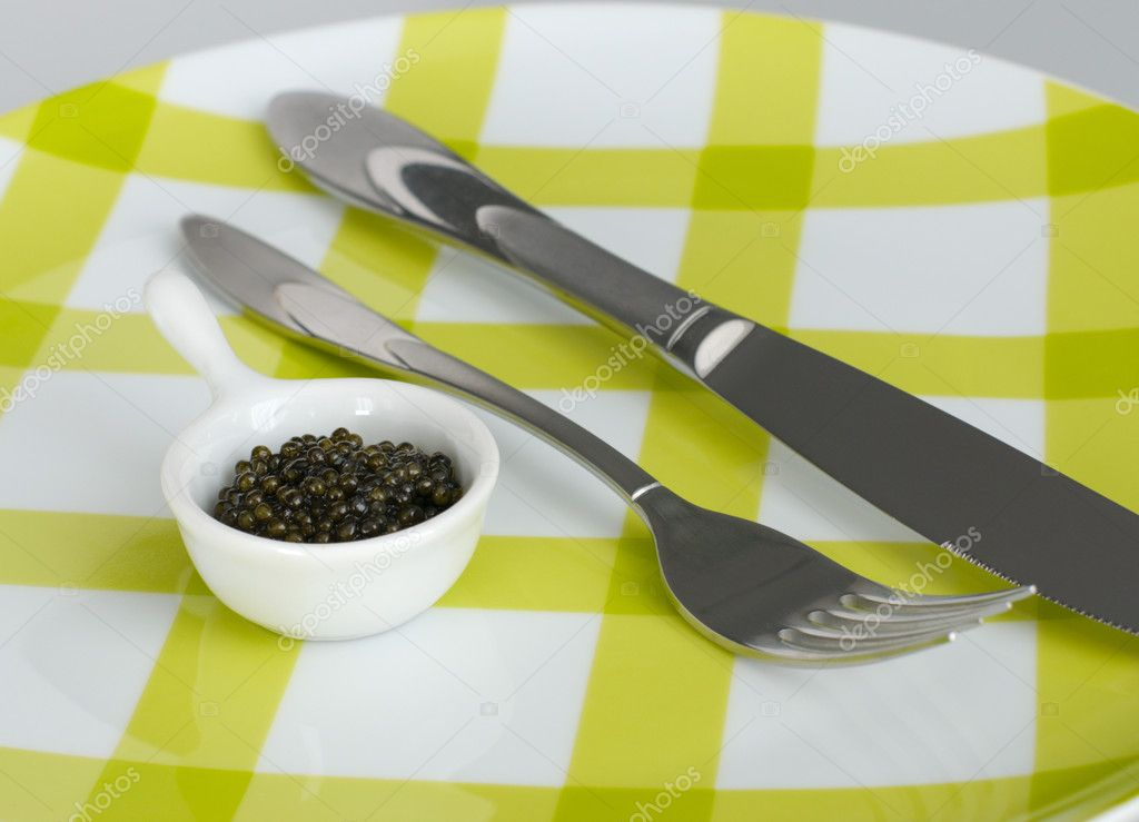 Bon appetite - caviar, fork and knife  Stock Photo #7505005