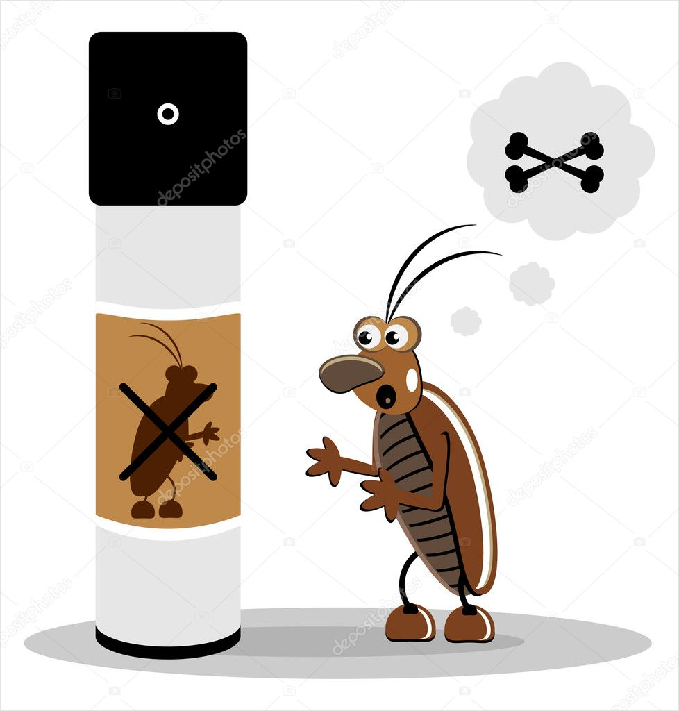 Brown cockroach with spray on white  background  Stock Vector #6923618