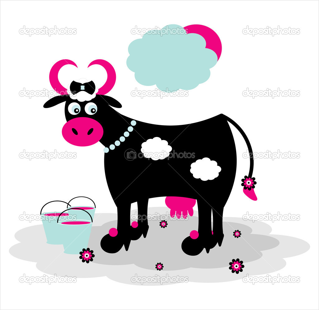 Black cow with bucket on grass — Stock Vector #6923627