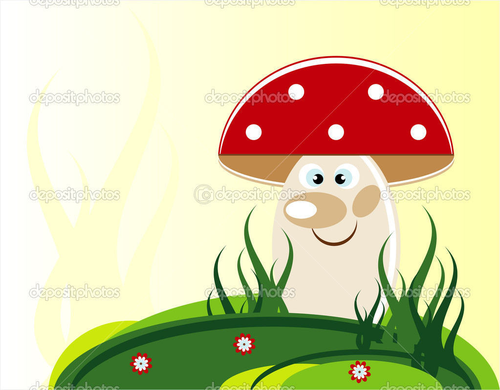 Mushroom in grass and flower — Stock Vector #6923642