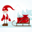 Santa with sleigh — Stock Vector