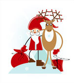 Santa with deer — Stock Vector