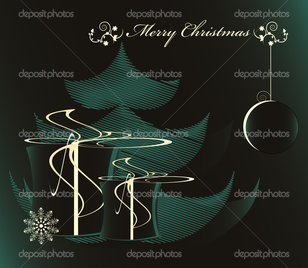 Christmas tree with gift in night  Stock Vector #7264758