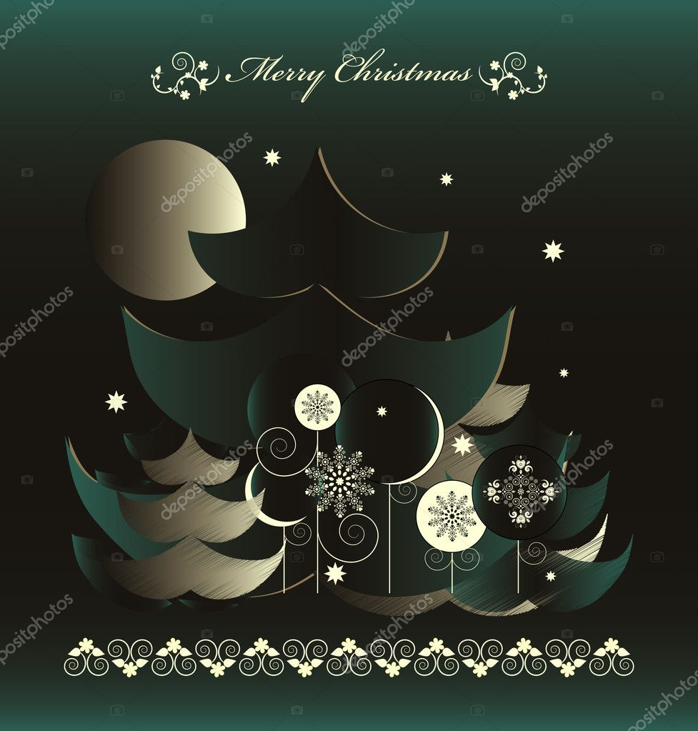 Christmas tree in night — Stock Vector #7264780