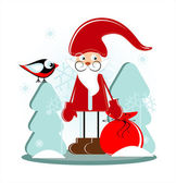 Santa with gift in forest — Stock Vector