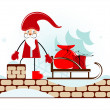 Santa on roof — Stock Vector #7337070