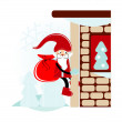 Santa on wall — Stock Vector