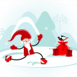 Royalty-Free Stock Vector Image: Santa is skating
