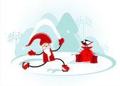 Santa is skating — Stock Vector