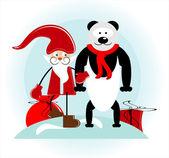 Santa and bear — Stock vektor