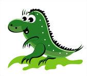 Green dragon going on a grass — Stock Vector