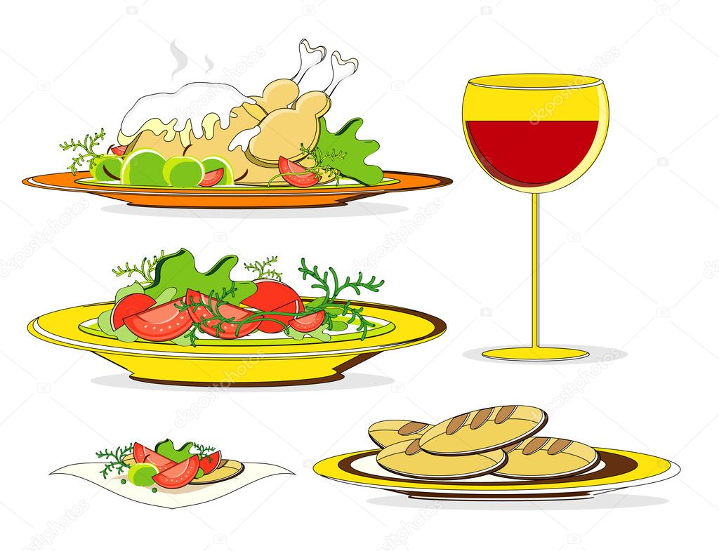 Lunch food with chicken salad wine and bread  Stock Vector #7532673