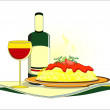 Stock Vector: Spaghetti with bottle of wine on served table