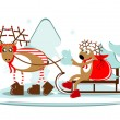 Christmas deer on sleigh with tree and gift — Stock Vector