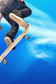 Skate board going airborne — Stock Photo