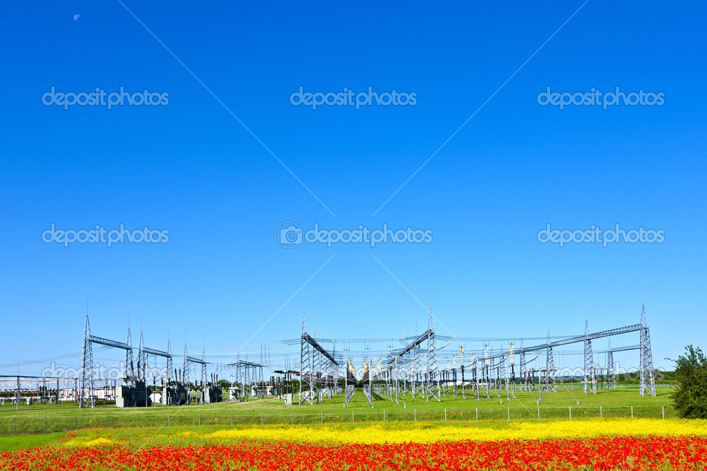 Electrical power plant in beautiful colorful meadow  Stock Photo #6837990