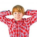 Portrait of cute boy with orange shirt — Stock Photo #6870480