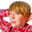 Portrait of cute boy with orange shirt — Stock Photo #6870492