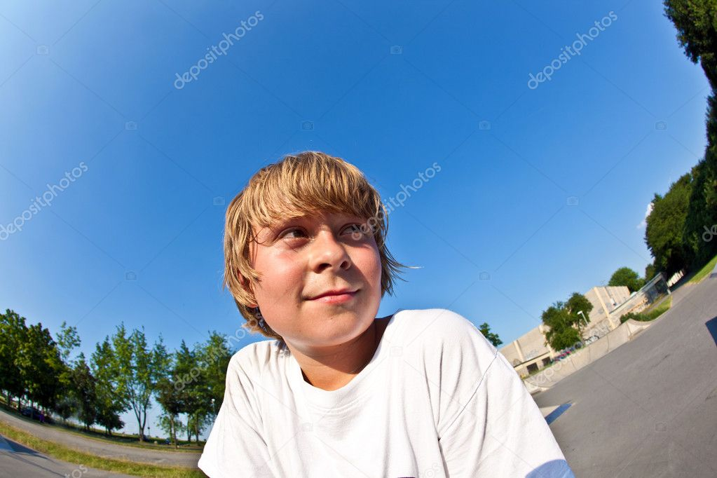 Young boy at the skate park  Stock Photo #6910110