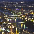 Stock Photo: Frankfurt am Main at night with view to bridges spanning the Mai