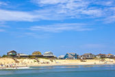 Beach with cottages at Nags Head in the outer banks — Stock Photo