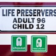 Sign for life Preservers on a ferry - Stock Photo