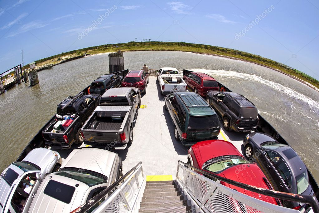 A cars on a ferry top view  Stock Photo #7100861