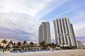 Miami beach with skyscrapers — ストック写真
