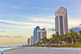 Miami beach with skyscrapers — Stock Photo