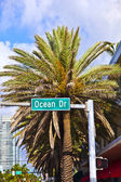 Street sign ocean drive of famous South Miami Art deco alley — Stock Photo