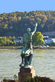 Famous sculpture of mayor Joseph Goerres in Koblenz at the river — Stock Photo