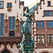 Statue of Lady Justice in front of the Romer in Frankfurt - Germany — Stock Photo