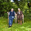 Elderly couple sitting hand in hand in their garden — Stock Photo