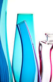 Blue bottles on a row — Stock Photo