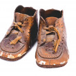 Bronzed baby shoes - Stock Photo