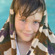 Boy and swimming pool — Stock Photo