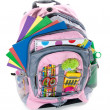 Pink book bag - Stock Photo