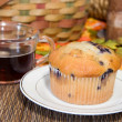 Blueberry muffin and coffee - Stockfoto