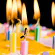 Close up of lit birthday candles - 