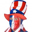 Patriotic man in costume celebrating July fourth — Stock Photo #7452451