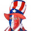 Stock Photo: Patriotic man in costume celebrating July fourth