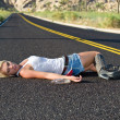 Stock Photo: Blond drunk on highway