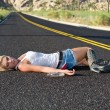 Blond drunk on highway — Stock Photo #7452666